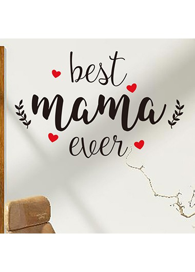 Letter and Heart Print Black Wall Sticker for Mother's Day - One Size