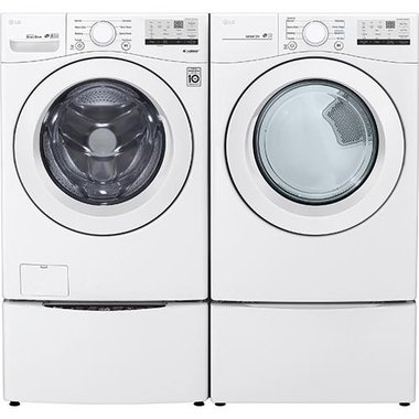 LG WM3400CW 4.5 CuFt Front Load Electric Washer With 6Motion Technology With 7.4 CuFt Electric Dryer With SmartDiagnosis In White