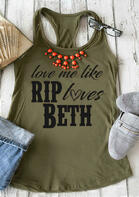 Love Me Like Rip Loves Beth Tank without Necklace - Army Green