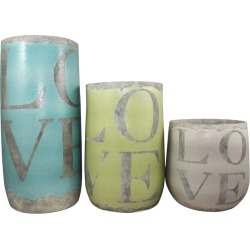 Love Terracotta Pots - Set Of 3 - Teal/lime/grey - Teal/lime/grey - One