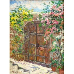 "M. Giliberti, M. Giliberti (20th Century) Oil Painting ""Distinctive Entrance"""