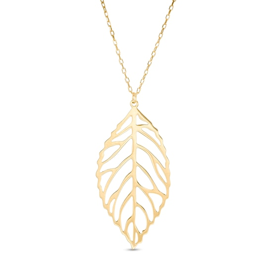 Made in Italy Leaf Cutout Pendant in 14K Gold