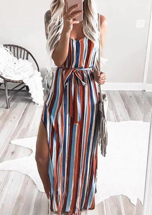 Maxi Dresses Colorful Striped Slit Spaghetti Strap Maxi Dress in Stripe. Size: S,M,L,XL