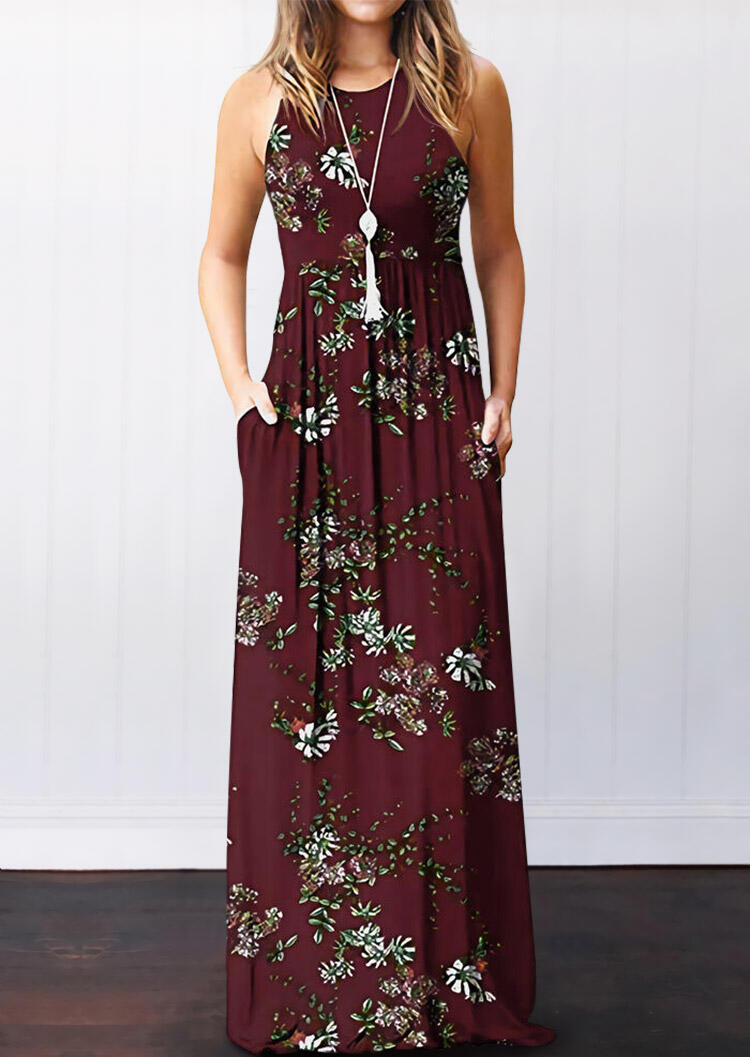 Maxi Dresses Floral Pocket Sleeveless Maxi Dress without Necklace in Burgundy. Size: S,M,L,XL