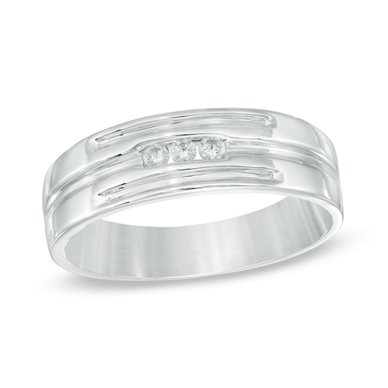 Men's 0.09 CT. T.w. Diamond Wedding Band in 10K White Gold