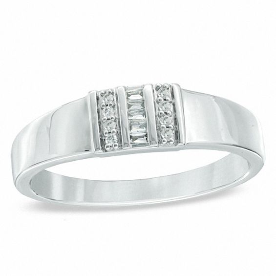 Men's 0.10 CT. T.w. Baguette and Round Diamond Ring in 10K White Gold