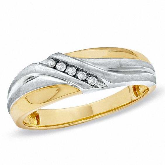 Men's Diamond Accent Five Stone Wedding Band in 10K Two-Tone Gold