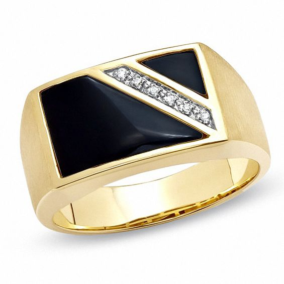 Men's Onyx Flag Ring with Diamond Accents in 10K Gold