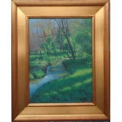 Michael Budden, Impressionistic Landscape Oil Painting Michael Budden Spring Stream, 2020