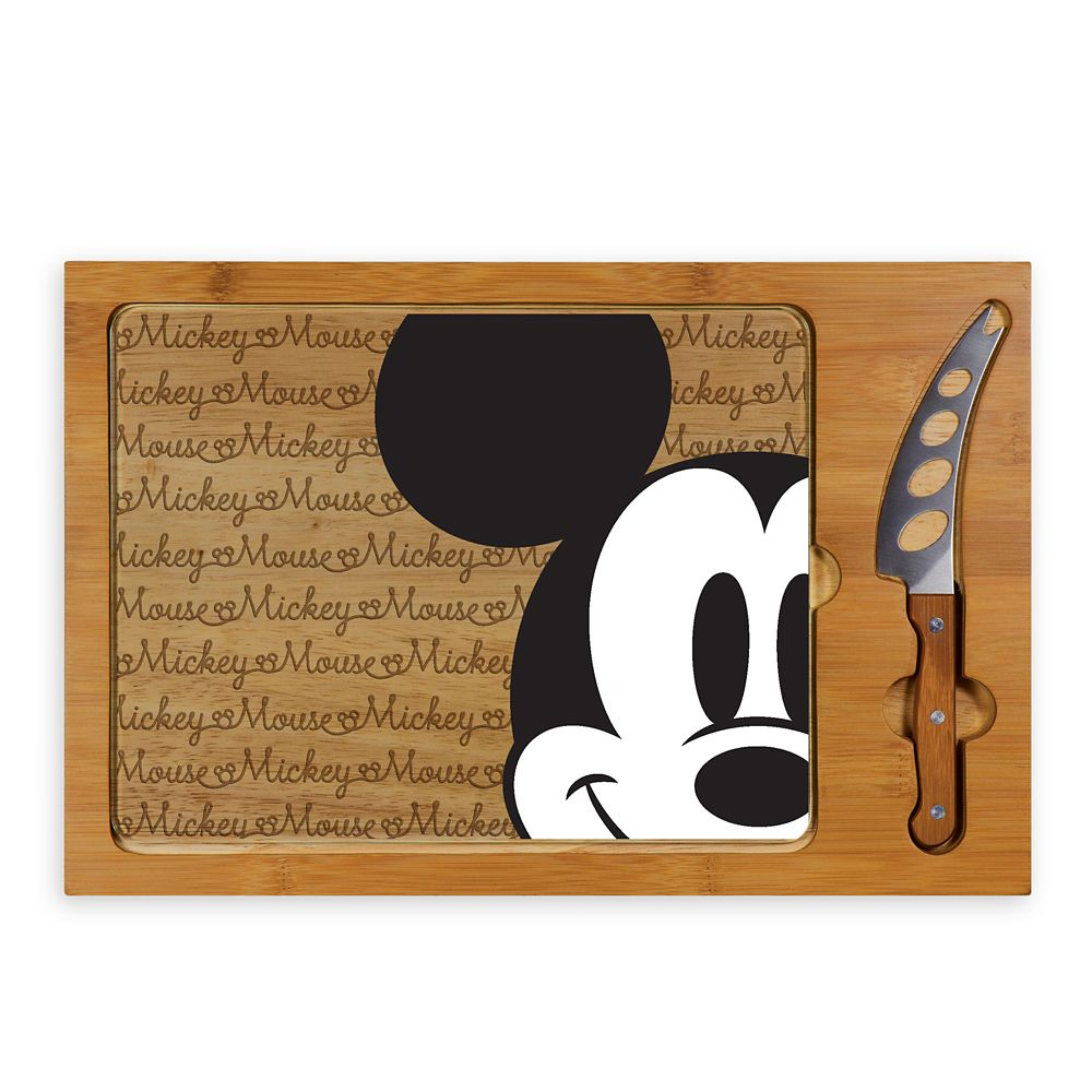 Mickey Mouse Glass Top Serving Tray and Knife Set Official shopDisney