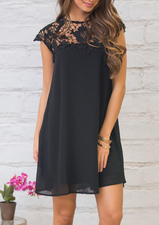 Mini Dresses Floral Lace Splicing Hollow Out Mini Dress in Black. Size: S,M,L