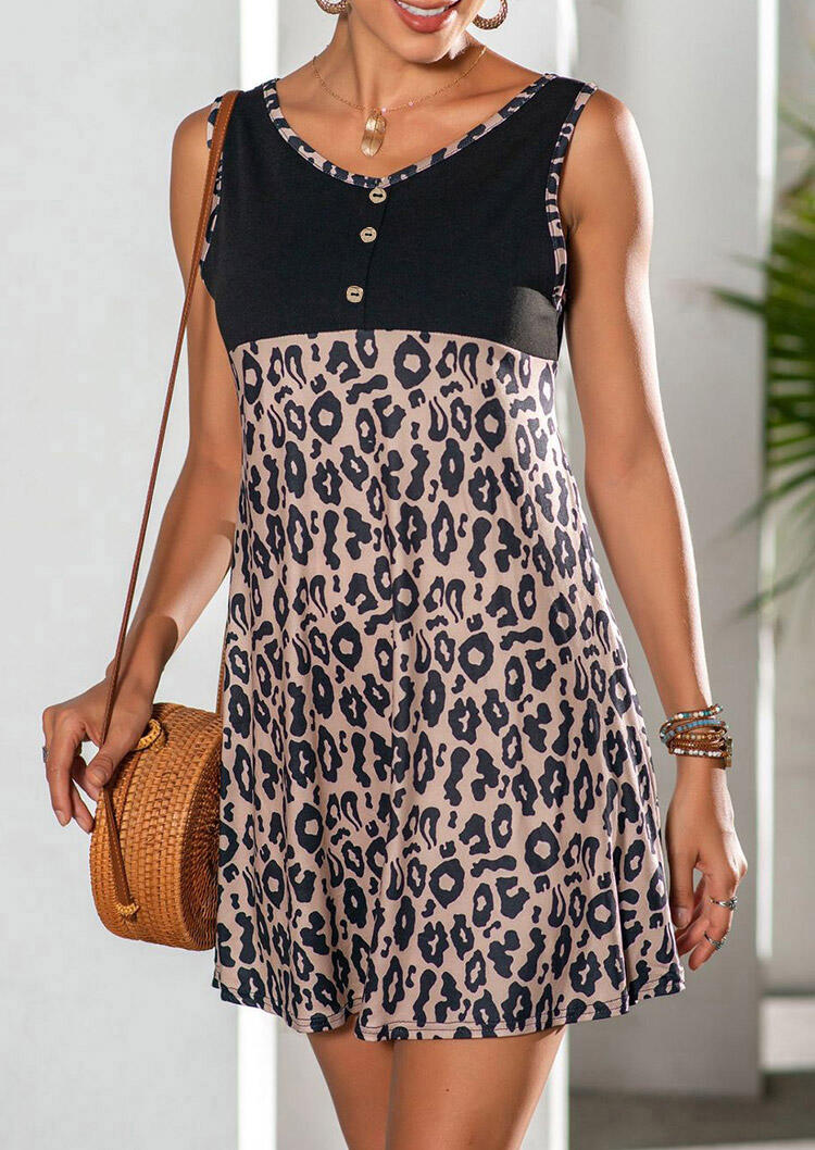 Mini Dresses Leopard Splicing Button Sleeveless Mini Dress without Necklace in Leopard. Size: S,M,L