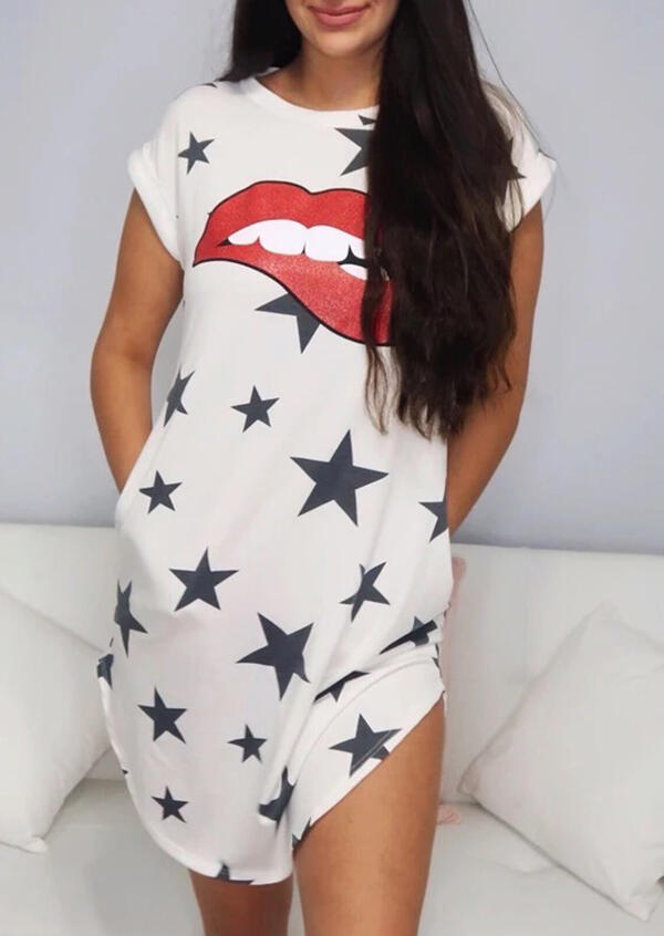 Mini Dresses Lips Star Mini Dress in White. Size: S,M,L