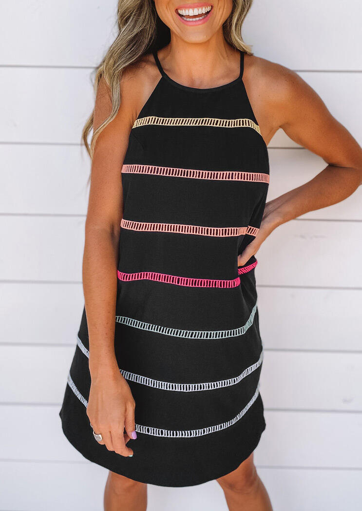 Mini Dresses Striped Hollow Out Button Halter Mini Dress in Black. Size: S,M,L,XL