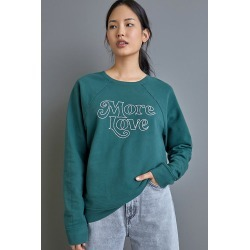 More Love Graphic Sweatshirt By Back When in Green Size XS