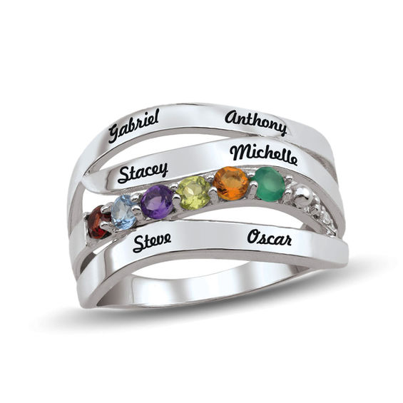 Mother's Birthstone and Diamond Accent Multi-Row Ring (2-6 Stones and