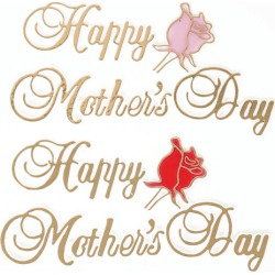 """Mother�s Day OASIS Floral Picks - 4 1/2"""" Happy Mother's Day with Rose Assortment- 12/Pack"""