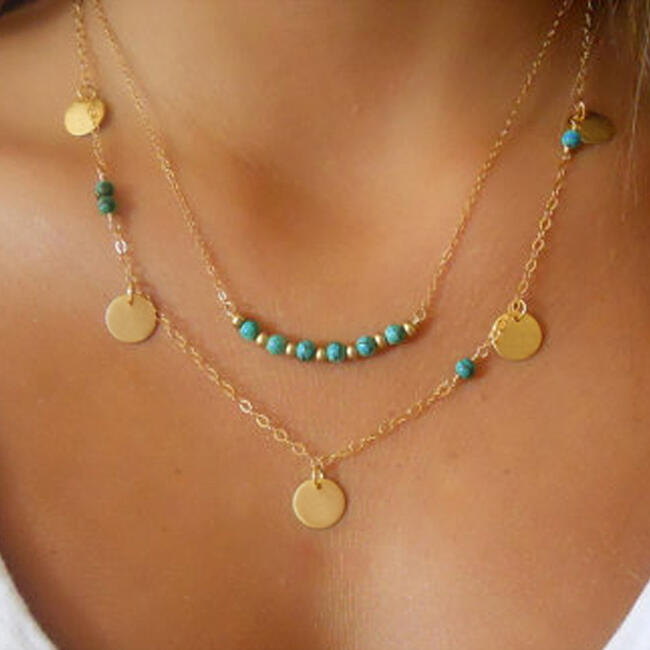 Necklaces Turquoise Beads Pendant Dual-Layered Necklace in Gold. Size: One Size