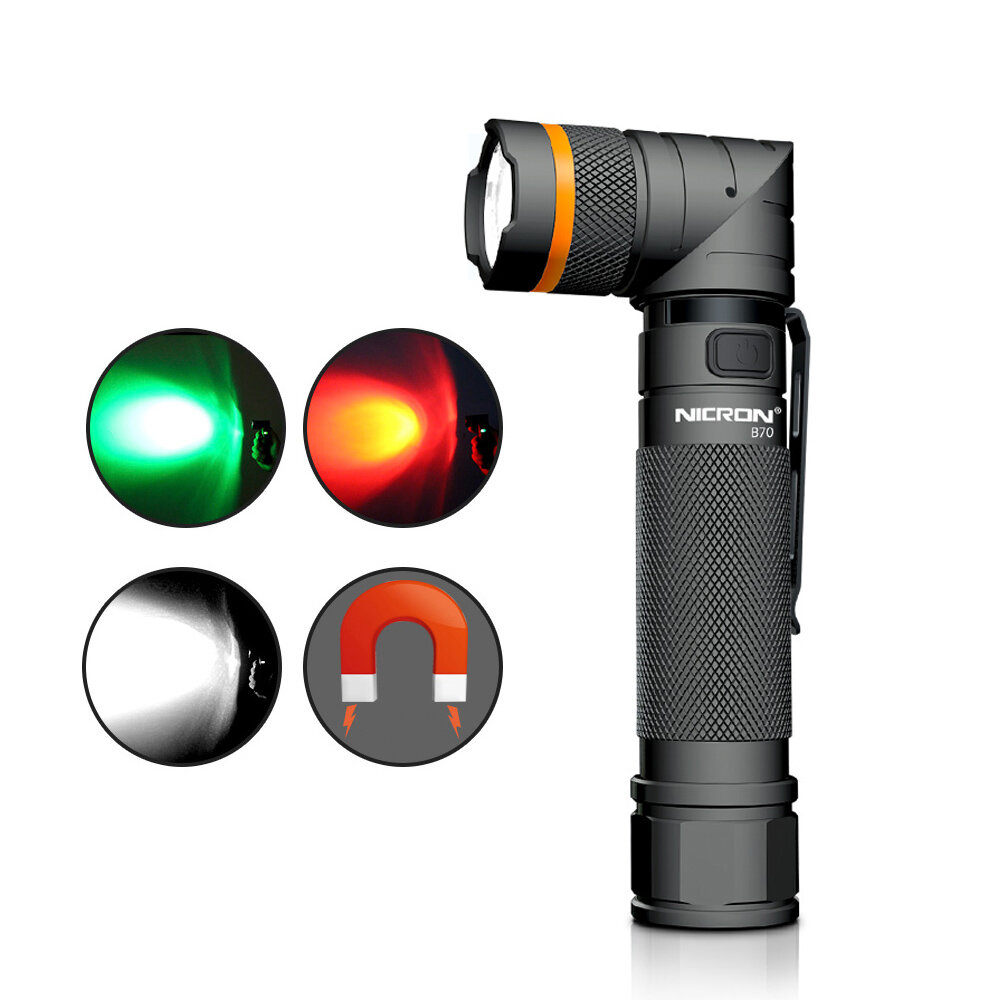 NICRON B70 800lm Flashlight Magnet 90° Waterproof 4 Modes Zoomable LED Work Lamp Camping Hunting Emergency Lantern