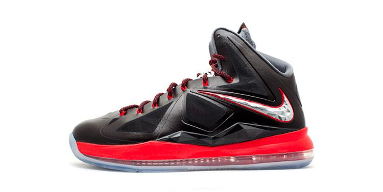 Nike LeBron 10+ Pressure Black/Chrome-Unvrsty Rd-Cl Gry Basketball Shoes/Sneakers 598360-001 (Size: US 10.5)