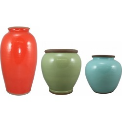 Odela Terracotta Pots - Set Of 3 - Red/mint/turquoise - Red/mint/turquoise - One