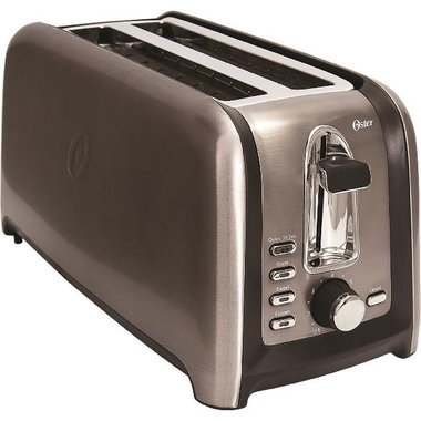 Oster TSSTTRGM4L 4-Slice Long Slot Toaster In Black Stainless