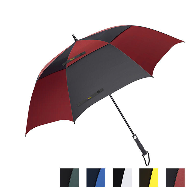 Outdoor Products 27 Inch Windproof Waterproof Double Canopy Golf Umbrella in Green,White,Blue,Red,Yellow. Size: 27 Inch