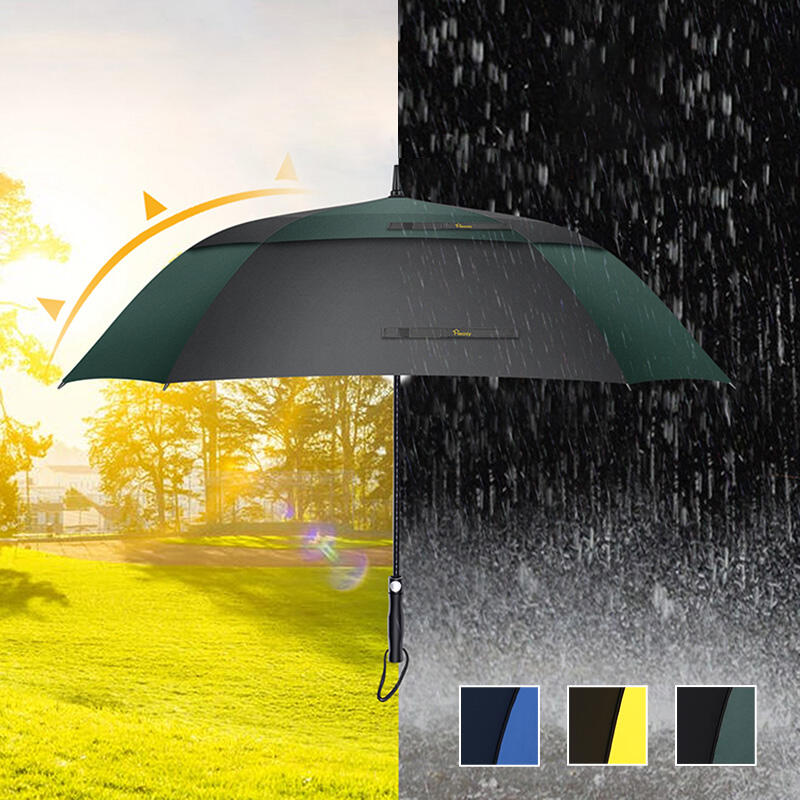 Outdoor Products 27 Inch Windproof Waterproof Double Canopy Vented Automatic Open Square Umbrella in Green,Blue,Yellow. Size: 27 Inch