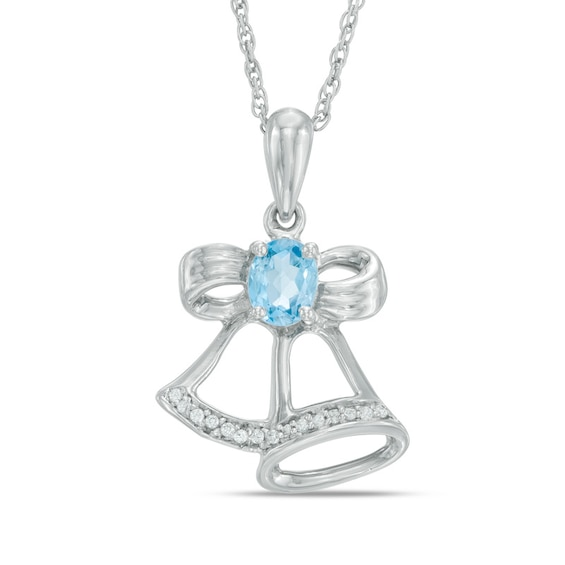 Oval Blue Topaz and Diamond Accent Bells Pendant in Sterling Silver