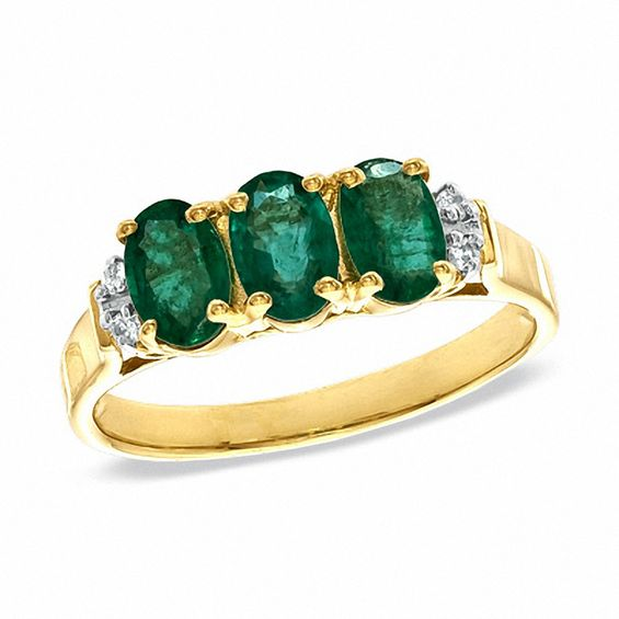 Oval Emerald and Diamond Accent Three Stone Ring in 10K Gold