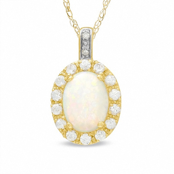 Oval Lab-Created Opal and White Sapphire Pendant in 10K Gold with