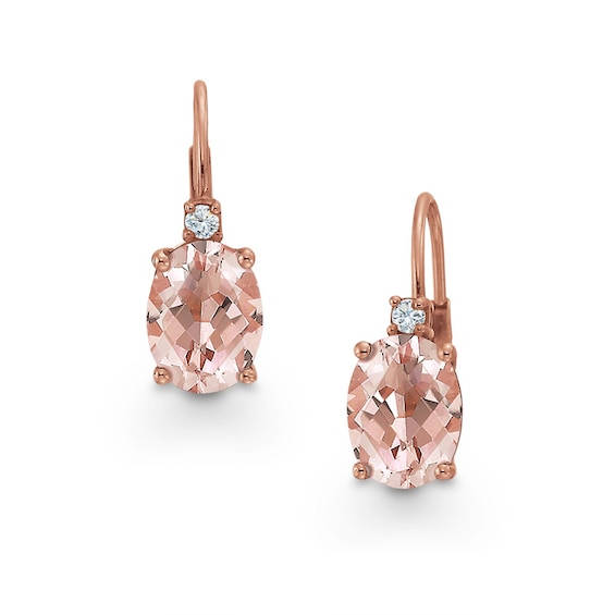 Oval Morganite and Diamond Accent Earrings in 10K Rose Gold