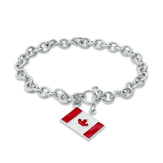 Peoples 100-Year Anniversary Red and White Enamel Canadian Flag