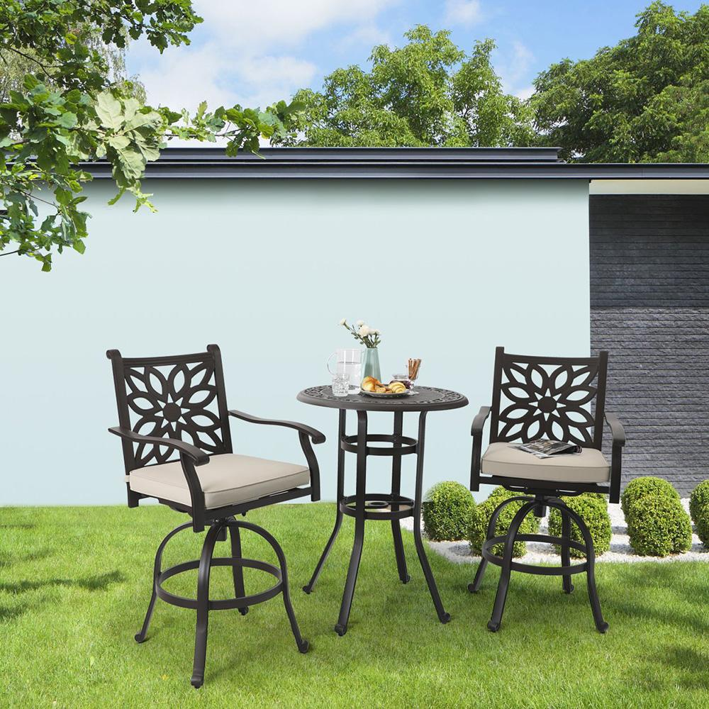 PHI VILLA Cast Aluminum Pub Height Outdoor Swivel Bar Bistro Set 2 Chairs & 1 Table