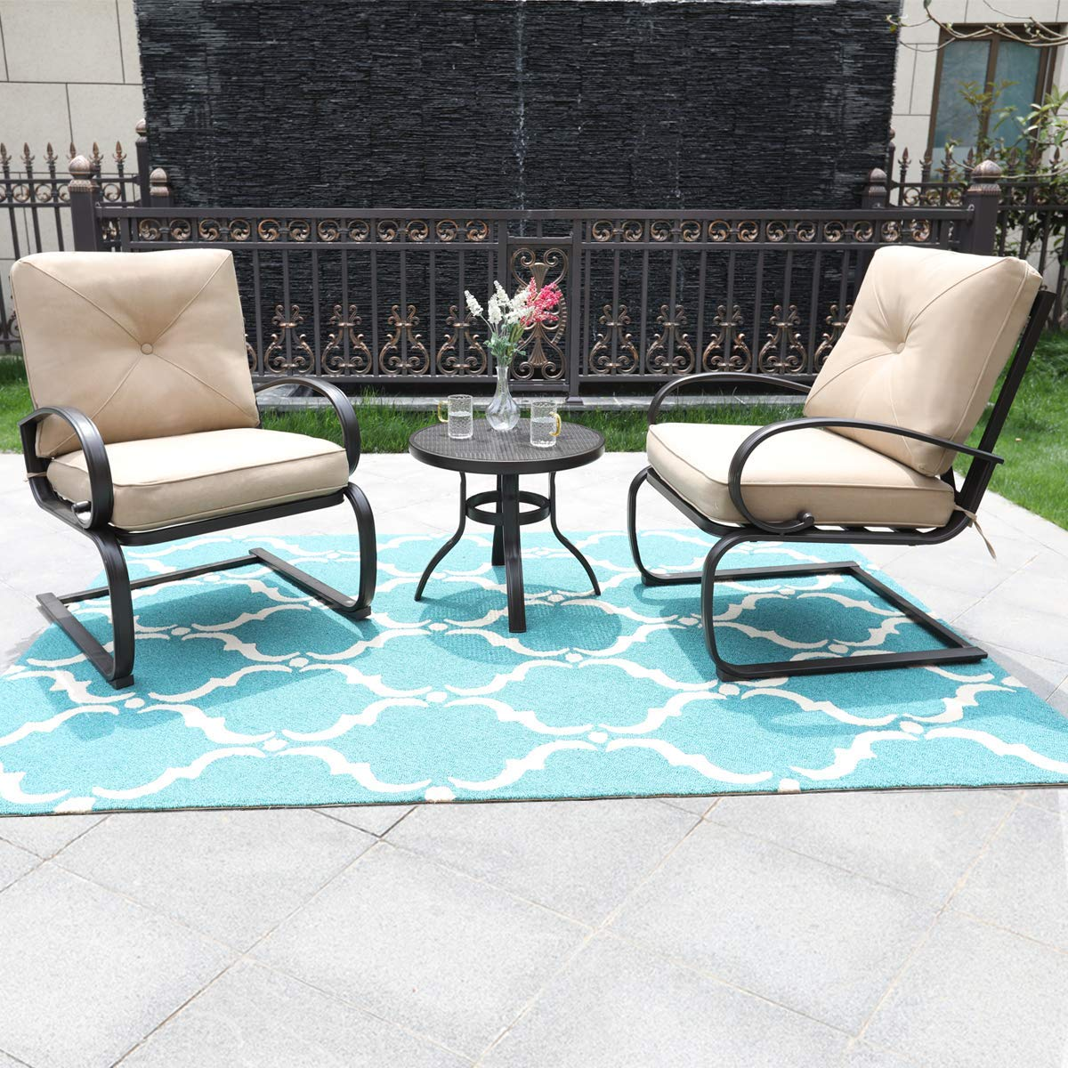 PHI VILLA Outdoor C-Spring Metal Lounge Cushioned Chairs & Table Set Beige