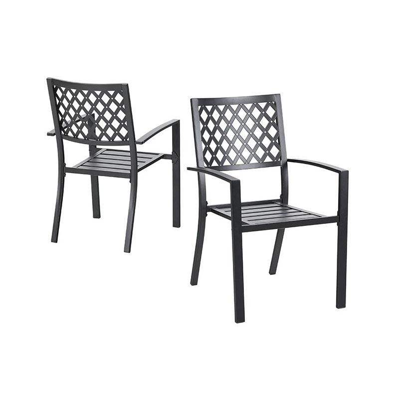 PHI VILLA Outdoor Patio Metal Dining Chairs fits Garden Backyard Chairs Furniture - Set of 2 Elegant