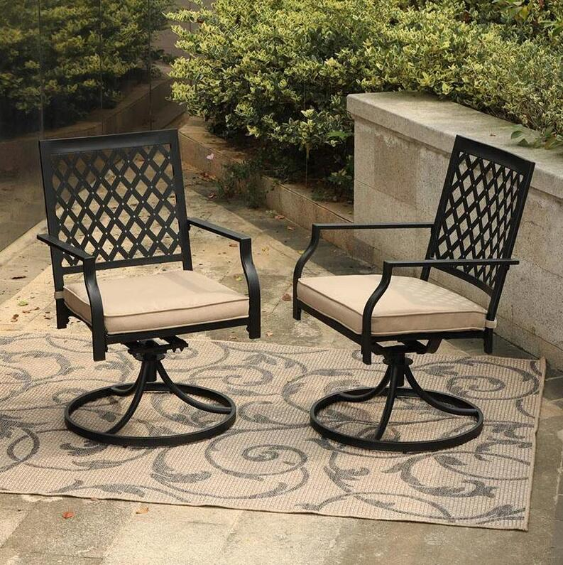 Phi Villa Outdoor Patio Metal Dining Chairs fits Garden Backyard Chairs Furniture - Set of 2 Swivel 2