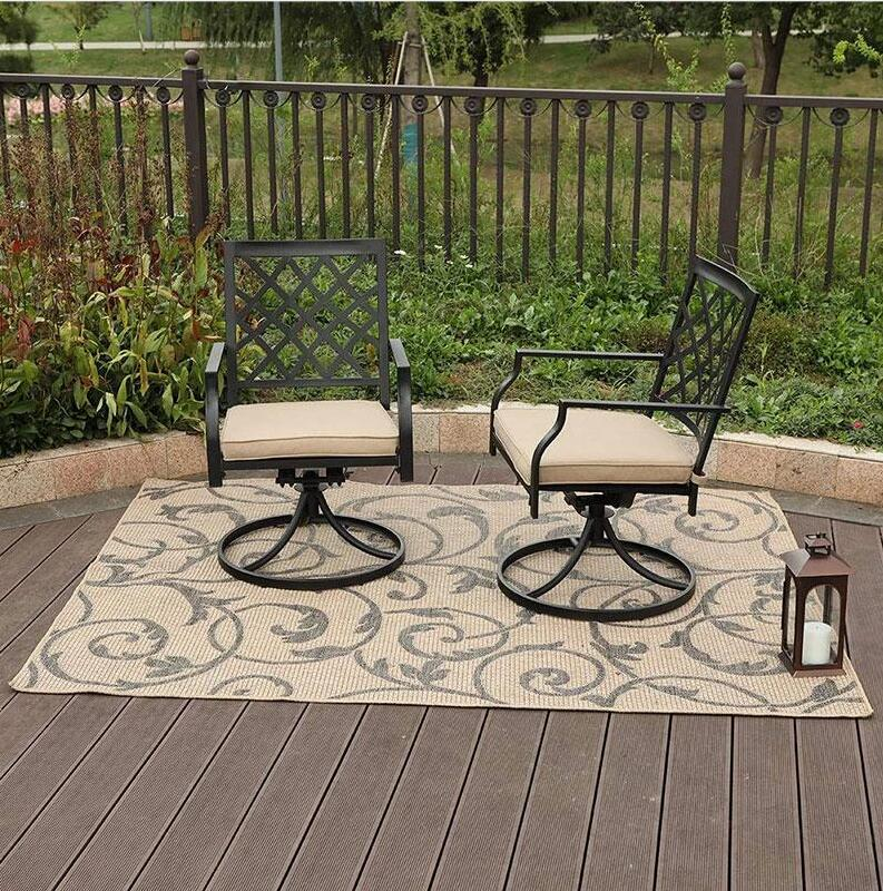 Phi Villa Outdoor Patio Metal Dining Chairs fits Garden Backyard Chairs Furniture - Set of 2 Swivel 1