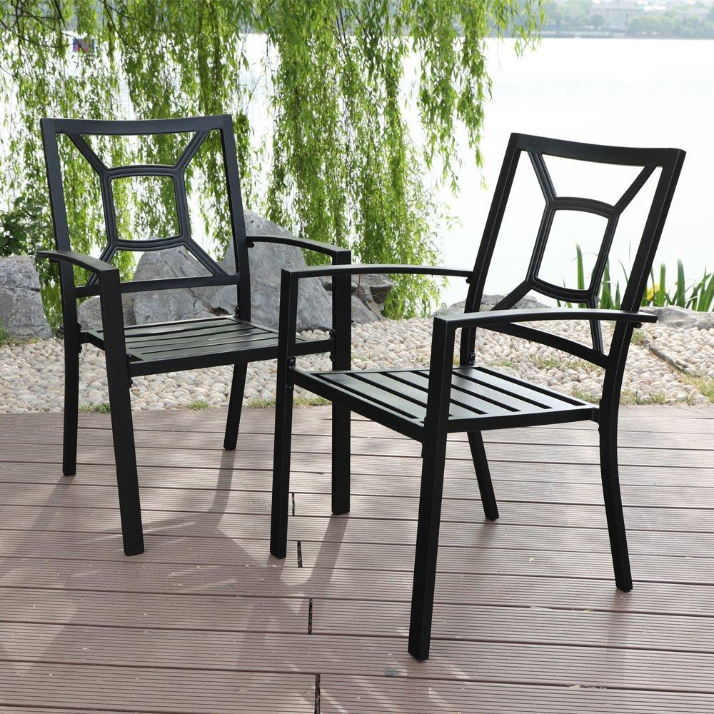 PHI VILLA Outdoor Patio Metal Dining Chairs fits Garden Backyard Chairs Furniture - Set of 2 Fancy