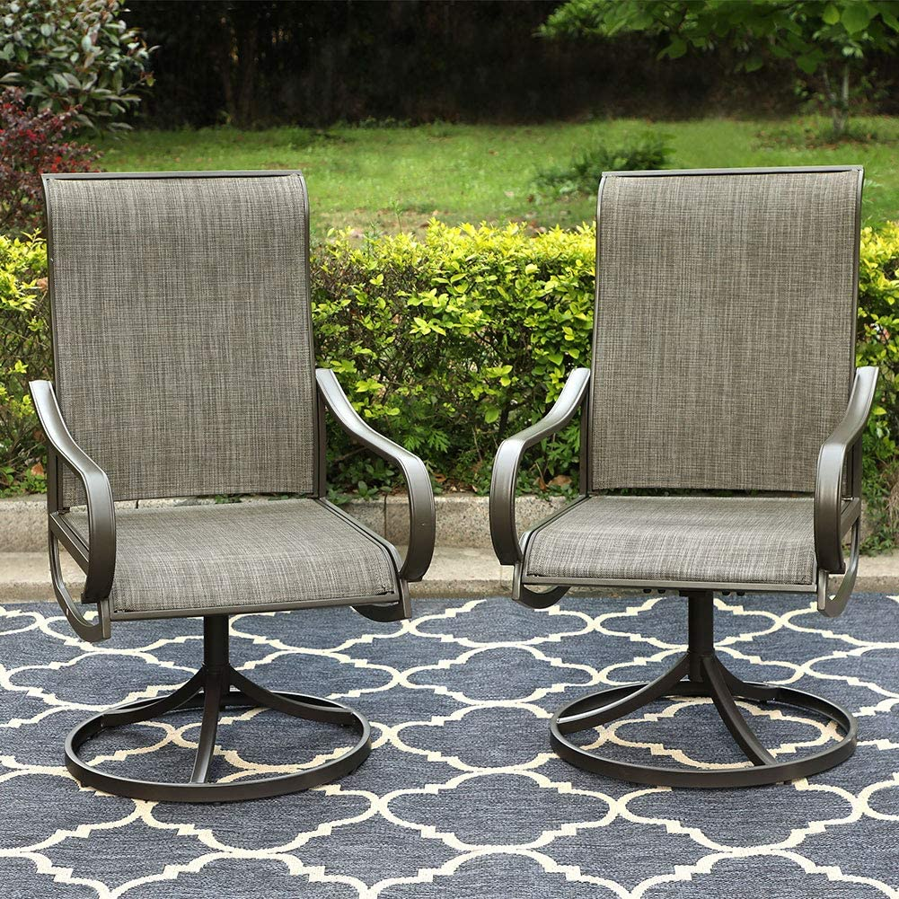 PHI VILLA Patio Swivel Rocker Chair Outdoor Dining Set 2 Chairs