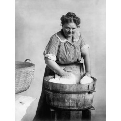 Photo: Woman Doing Laundry in Wooden Tub and Metal Washboard, Ca, 1905: 24x18in