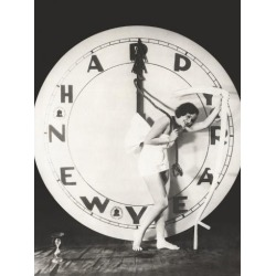 Photo: Woman Pulling the Hour Hand of Giant Clock on New Year's Eve: 24x18in