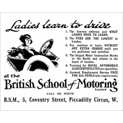 Photograph. British School of Motoring - ladies learn to drive 1915