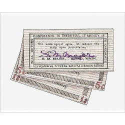 Photograph. Illustration of signed wooden banknotes issued in Tenino in 1932