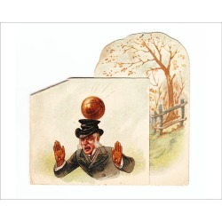 Photograph. Man hit by football on a greetings card