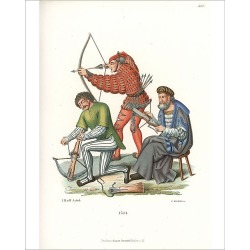 Photograph. Medieval archers with crossbow and long bow