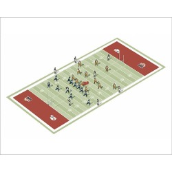 Photograph. Teams on Canadian football pitch