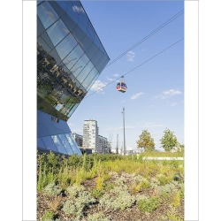 Photograph. The Crystal building and the Emirates Airline Cable car, London, England, UK