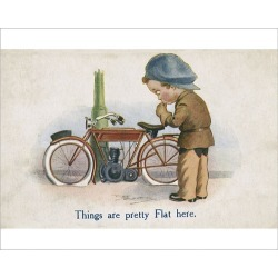 Photograph. Young man and motorcycle on a comic postcard