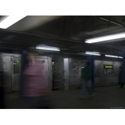 Photographic Print: Commuters and Subway Trains, New York, New York by Todd Gipstein: 12x9in